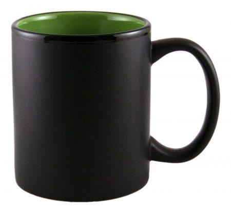 Aztec 11oz black ceramic mug with green interior