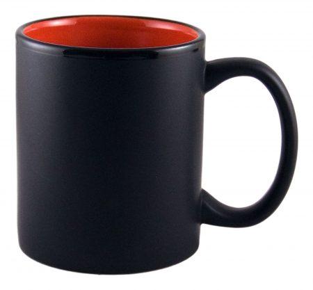 Aztec 11oz black ceramic mug with red interior