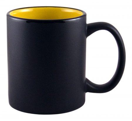 Aztec 11oz black ceramic mug with yellow interior