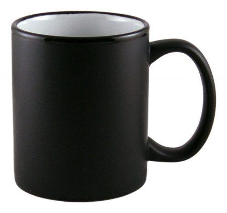 Aztec 11oz black ceramic mug with white interior