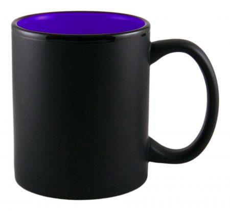 Aztec 11oz black ceramic mug with purple interior