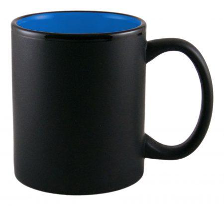 Aztec 11oz black ceramic mug with blue interior