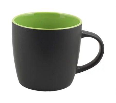 12 oz black Cafe mug with green interior