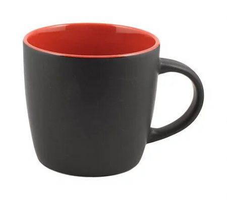 Cafe 12oz black ceramic mug with red interior