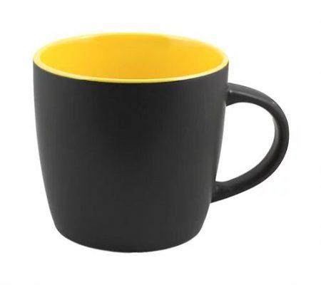 12 oz black Cafe mug with yellow interior