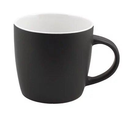 12 oz black Cafe mug with white interior