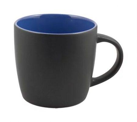 12 oz black Cafe mug with blue interior