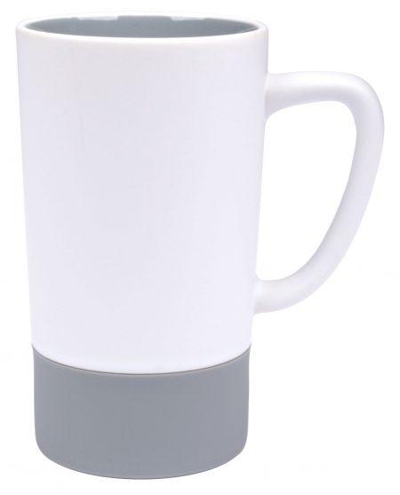 Combo 16oz ceramic mug: white and grey