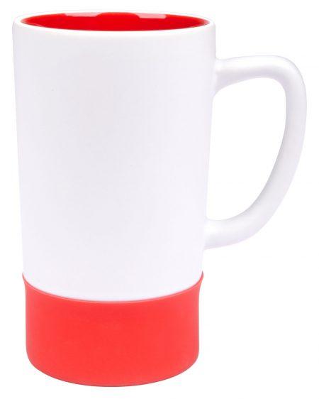 Combo 16oz ceramic mug: white and red
