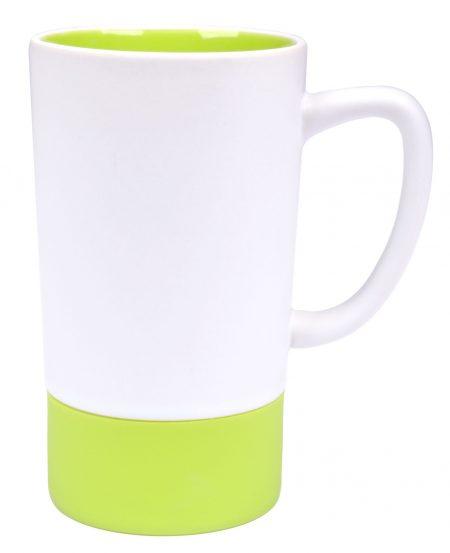 Combo 16oz ceramic mug: white and lime green