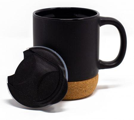 Corky black ceramic mug with lid