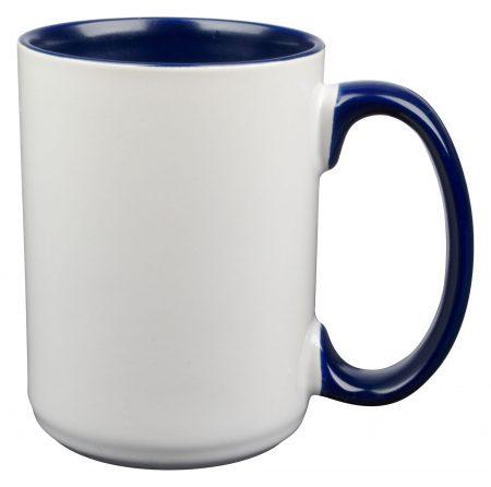 White and navy El Grande 15oz mug with handle