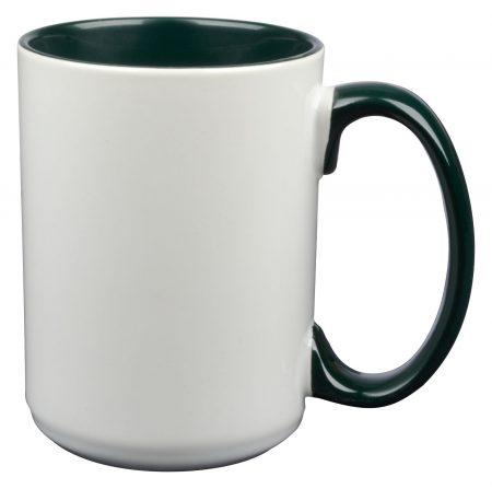 White and green El Grande 15oz mug with handle