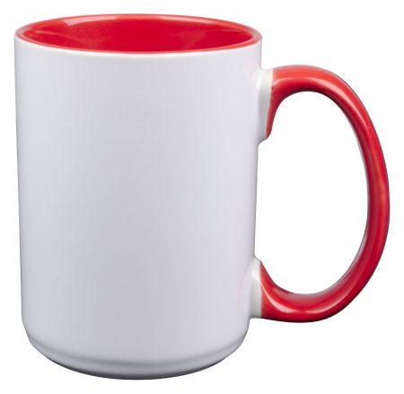 White and red El Grande 15oz mug with handle