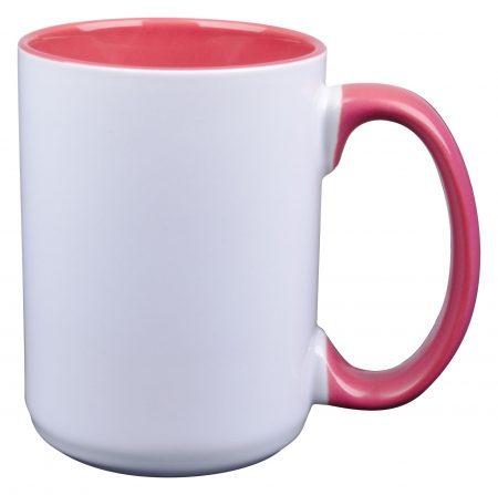 White and pink El Grande 15oz mug with handle