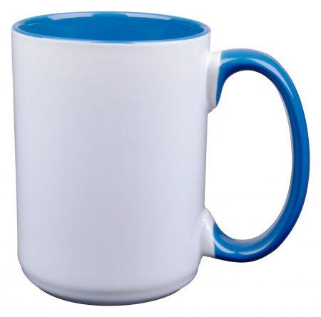 White and blue El Grande 15oz mug with handle