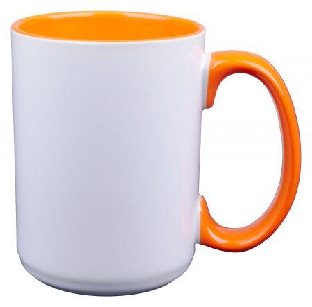 White and orange El Grande 15oz mug with handle