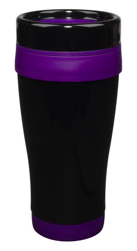 Formula Seven 14oz tumbler with lid and purple trim