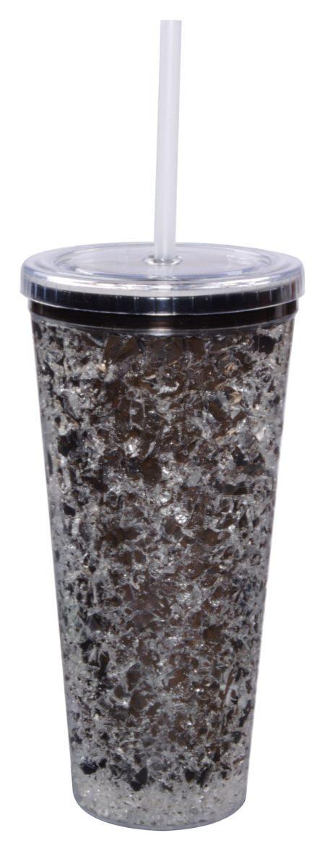 Dark grey Gel Freezer Journey Tumbler with straw: 16oz