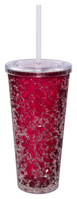 Red Gel Freezer Journey Tumbler with straw: 16oz