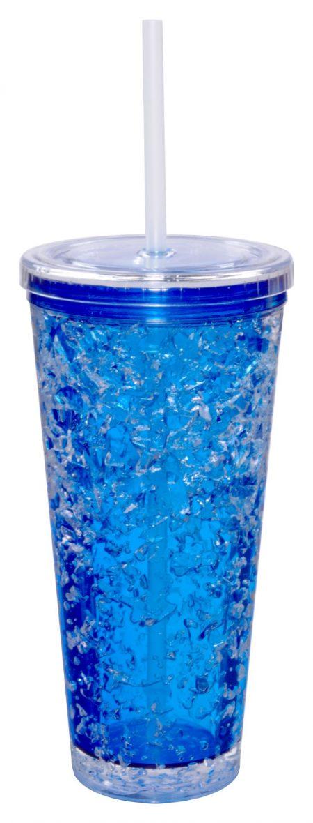 Light Blue Gel Freezer Journey Tumbler with straw: 16oz