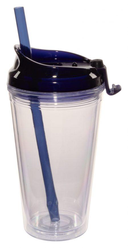 Blue Marathon 16oz plastic tumbler with lid and straw