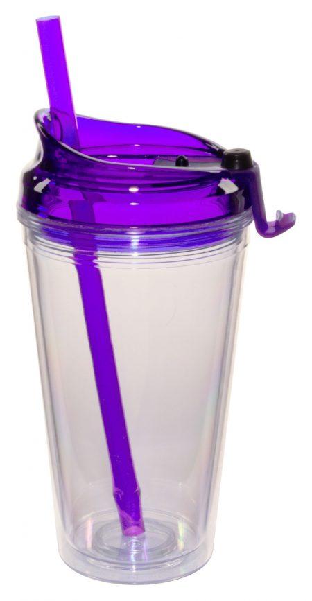 Purple Marathon 16oz plastic tumbler with lid and straw