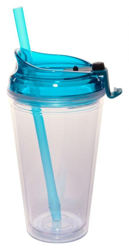 Teal Marathon 16oz plastic tumbler with lid and straw