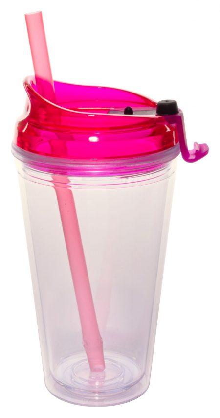 Pink Marathon 16oz plastic tumbler with lid and straw