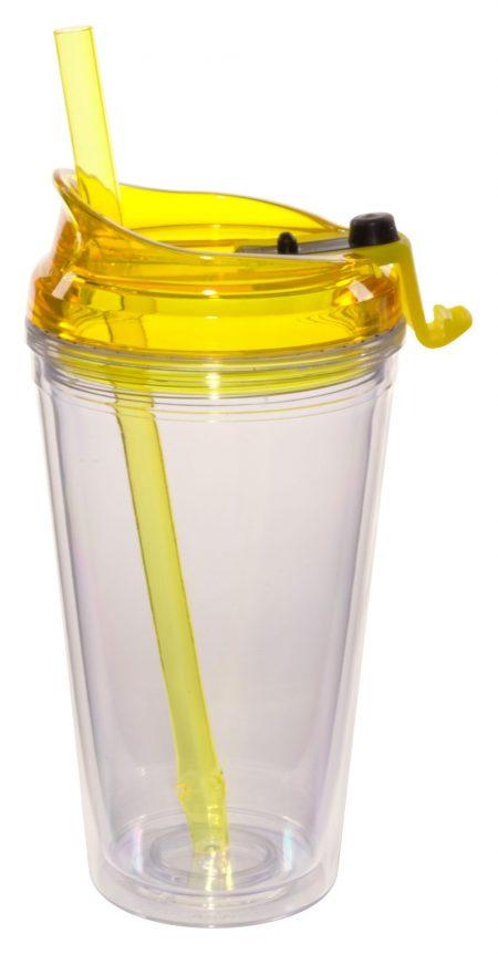Yellow Marathon 16oz plastic tumbler with lid and straw