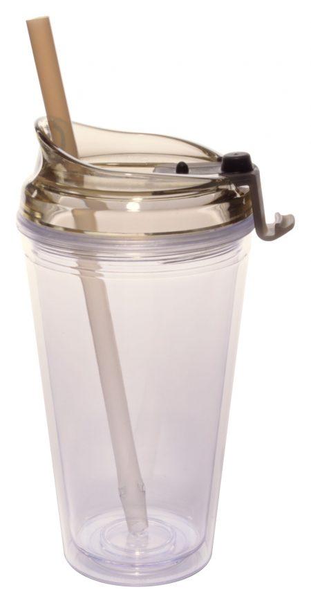 Brown Marathon 16oz plastic tumbler with lid and straw