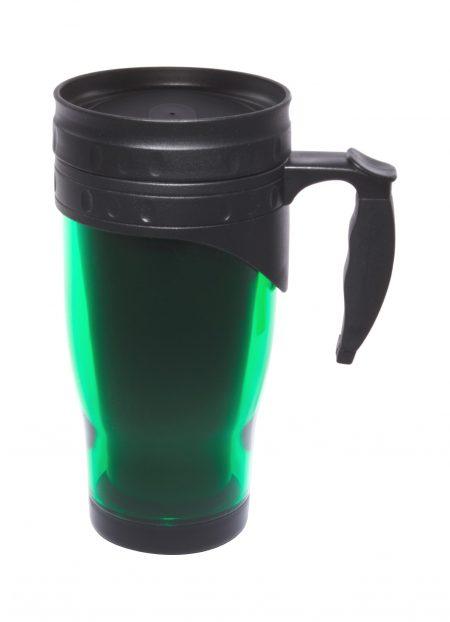 Green 16oz open handle travel mug