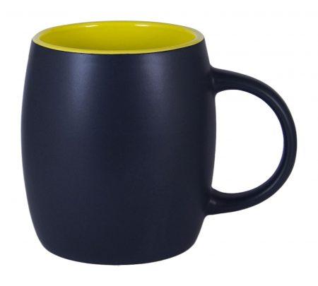 Robusto 14oz ceramic mug: black with yellow interior