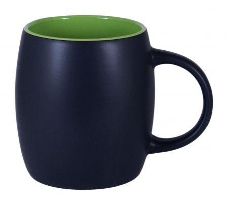 Robusto 14oz ceramic mug: black with green interior