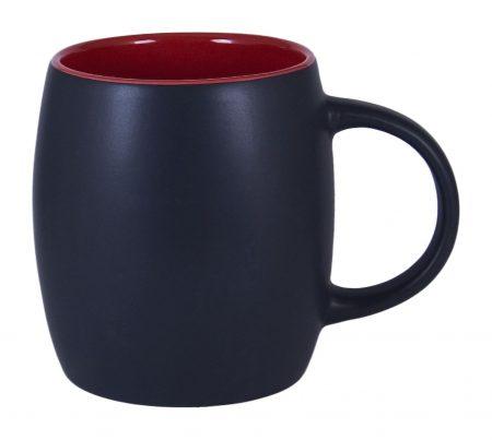 Robusto 14oz ceramic mug: black with red interior