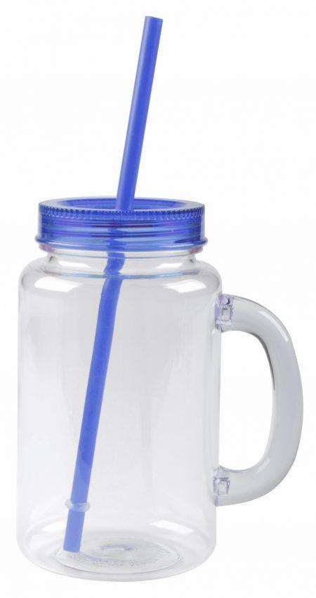 The Mason: handled mason jar mug with blue straw and lid