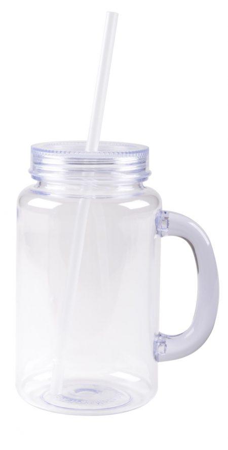 The Mason: handled mason jar mug with straw