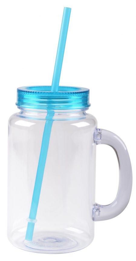 The Mason: handled mason jar mug with teal straw and lid
