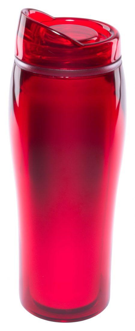 Red 14oz Optima translucent acrylic tumbler with lid