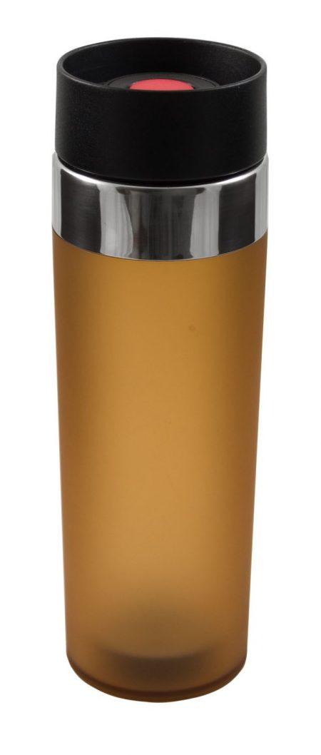 Brown Venti 15oz plastic tumbler with push button lid