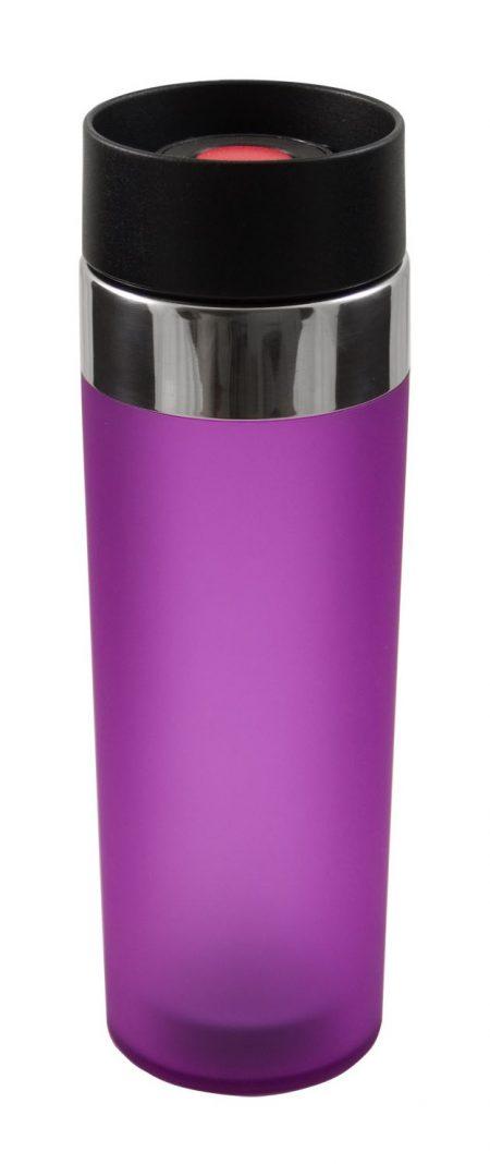 Purple Venti 15oz plastic tumbler with push button lid