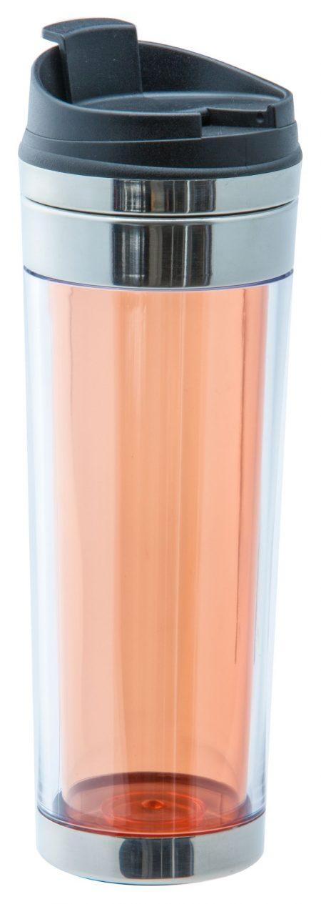 Orange Vulcano 16oz plastic tumbler with flip lid