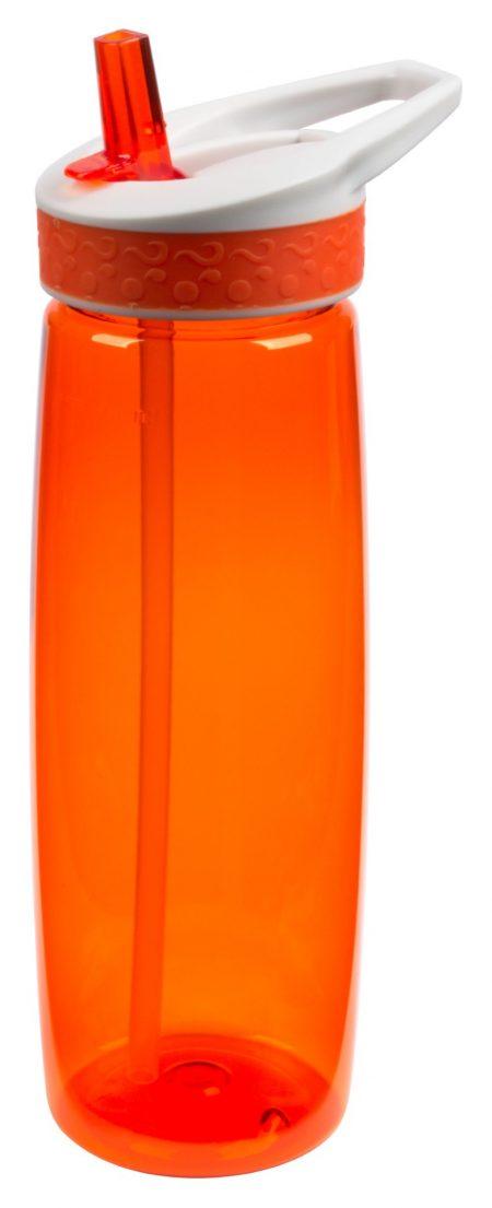 Orange Wave 25 oz spill proof bottle with straw